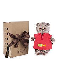 Мягкая игрушка Budi Basa Кот Басик в красном флисовом жилете, 22 см от