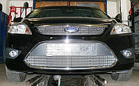 Декоративно-защитная сетка радиатора Ford Focus II фальшрадиаторная решетка, бампер