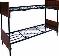 Кровать двухъярусная металлическая со спинками из ДСП