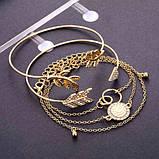 Стильний багатошаровий металевий браслет золотий (набір з п'яти браслетів на руку), фото 2