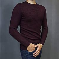 Мужской свитер Bottega Veneta бордовый облегающий тонкий