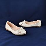 .Женские Балетки Белые Перламутр Мокасины Туфли (размеры: 37), фото 7