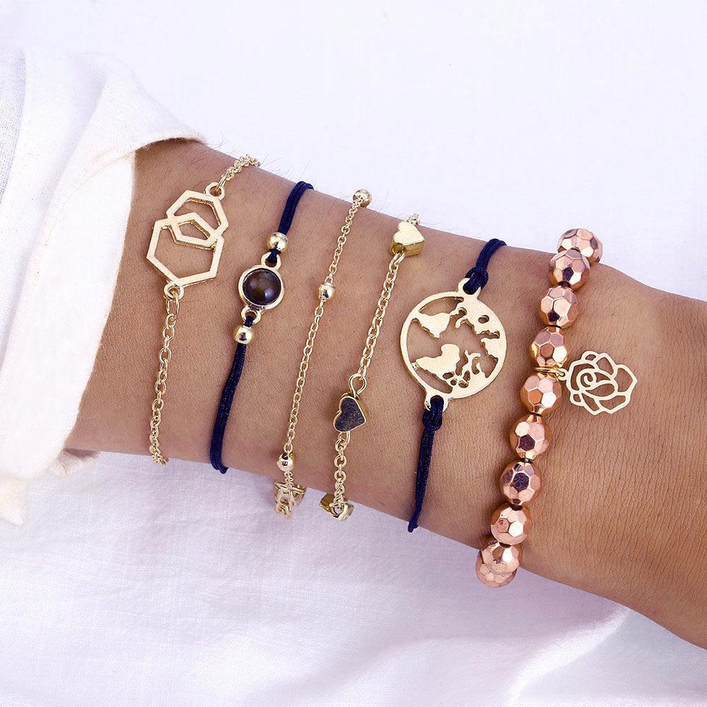 Стильный многослойный металлический браслет золотой (набор из шести браслетов на руку)