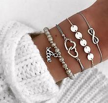 Стильний багатошаровий металевий браслет срібний з сірим (набір з чотирьох браслетів на руку)