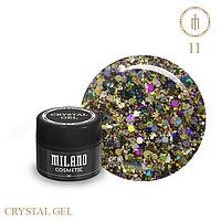 Гель для дизайна Crystal Glitter Gel Milano №11 6 мл