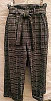 Теплые стрейчевые брюки в клетку для девочки, рост 128 - 146 см 7- 11 лет - N 304