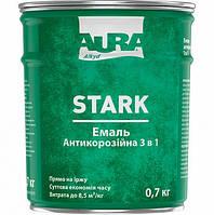 Эмаль антикоррозионная Aura Stark 3 в 1 цвет Черный № 90 0.7 кг