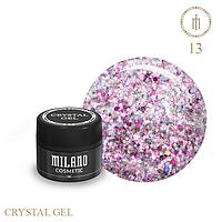 Гель для дизайна Crystal Glitter Gel Milano №13 6 мл