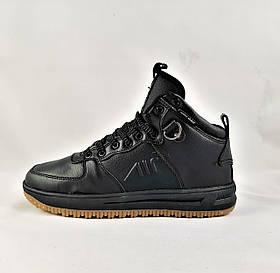 Кроссовки AIR Мужские Чёрные Ботинки Зимние с Мехом (размеры: 45) Видео Обзор