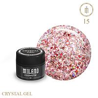 Гель для дизайна Crystal Glitter Gel Milano №15 6 мл