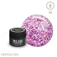 Гель для дизайна Crystal Glitter Gel Milano №16 6 мл