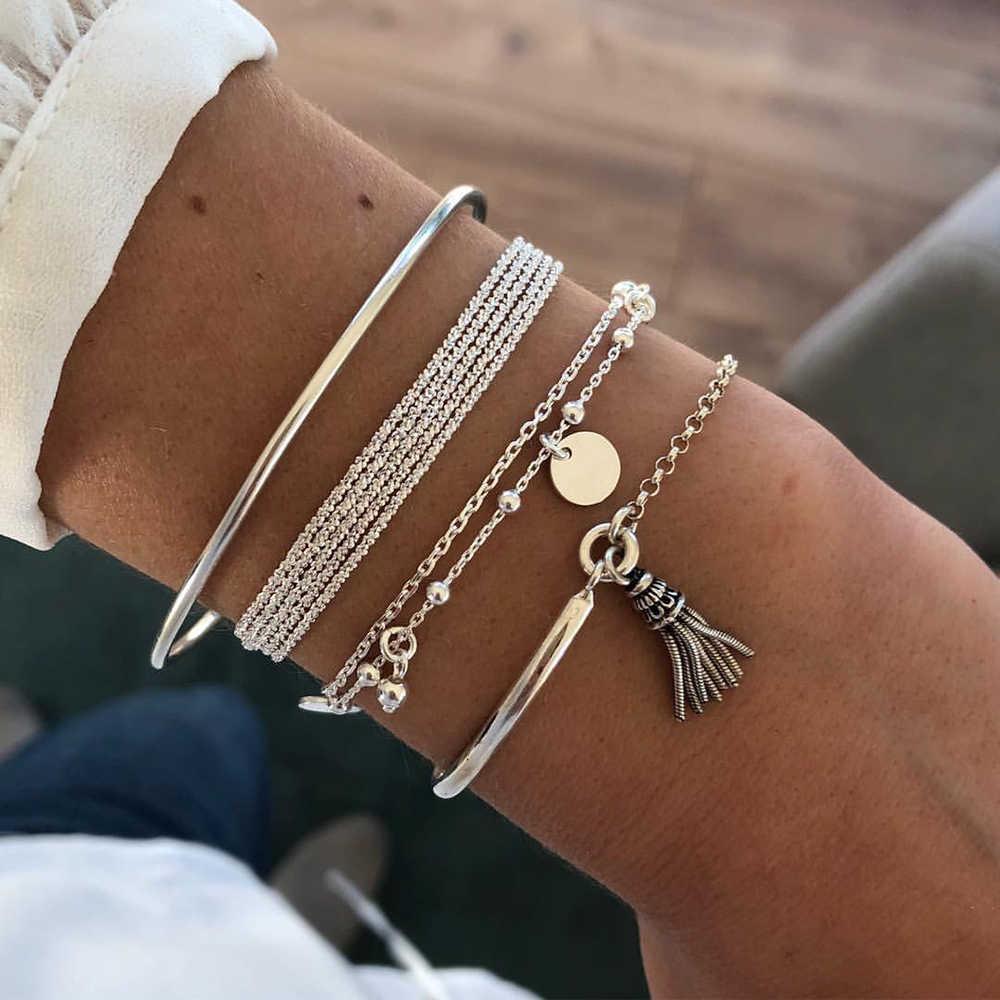 Стильный многослойный металлический браслет серебряный (набор из четырех браслетов на руку)