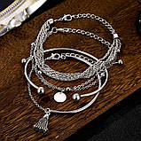 Стильный многослойный металлический браслет серебряный (набор из четырех браслетов на руку), фото 3