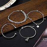 Стильный многослойный металлический браслет серебряный (набор из четырех браслетов на руку), фото 2