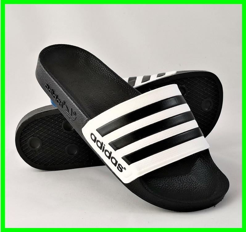 Мужские Шлёпанцы Тапочки ADIDAS Сланцы Адидас Чёрные с Белым (размеры: 40,42,45,46)