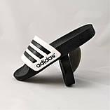Мужские Шлёпанцы Тапочки ADIDAS Сланцы Адидас Чёрные с Белым (размеры: 40,42,45,46), фото 5