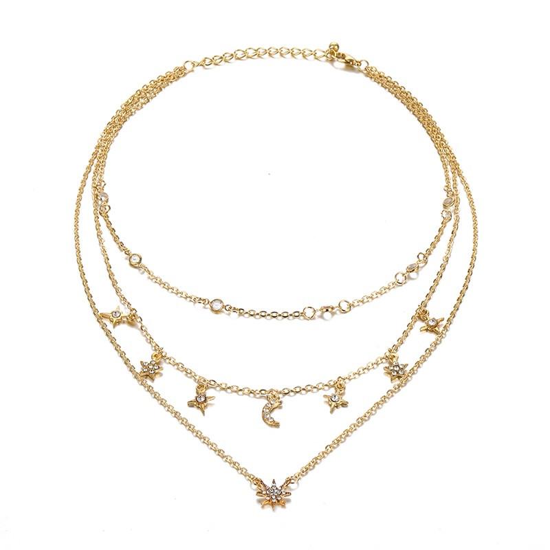 Многослойное колье/ожерелье Звезды и Луна золотое со стразами