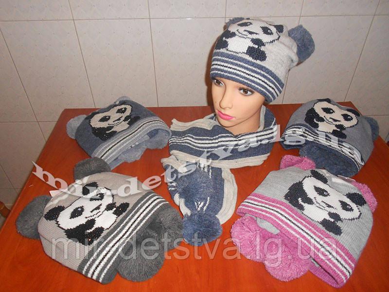Комплект шерстяной для девочки шапка+шарф