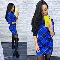 Короткое платье с рукавом 3/4 синее в шотландскую клетку, фото 1