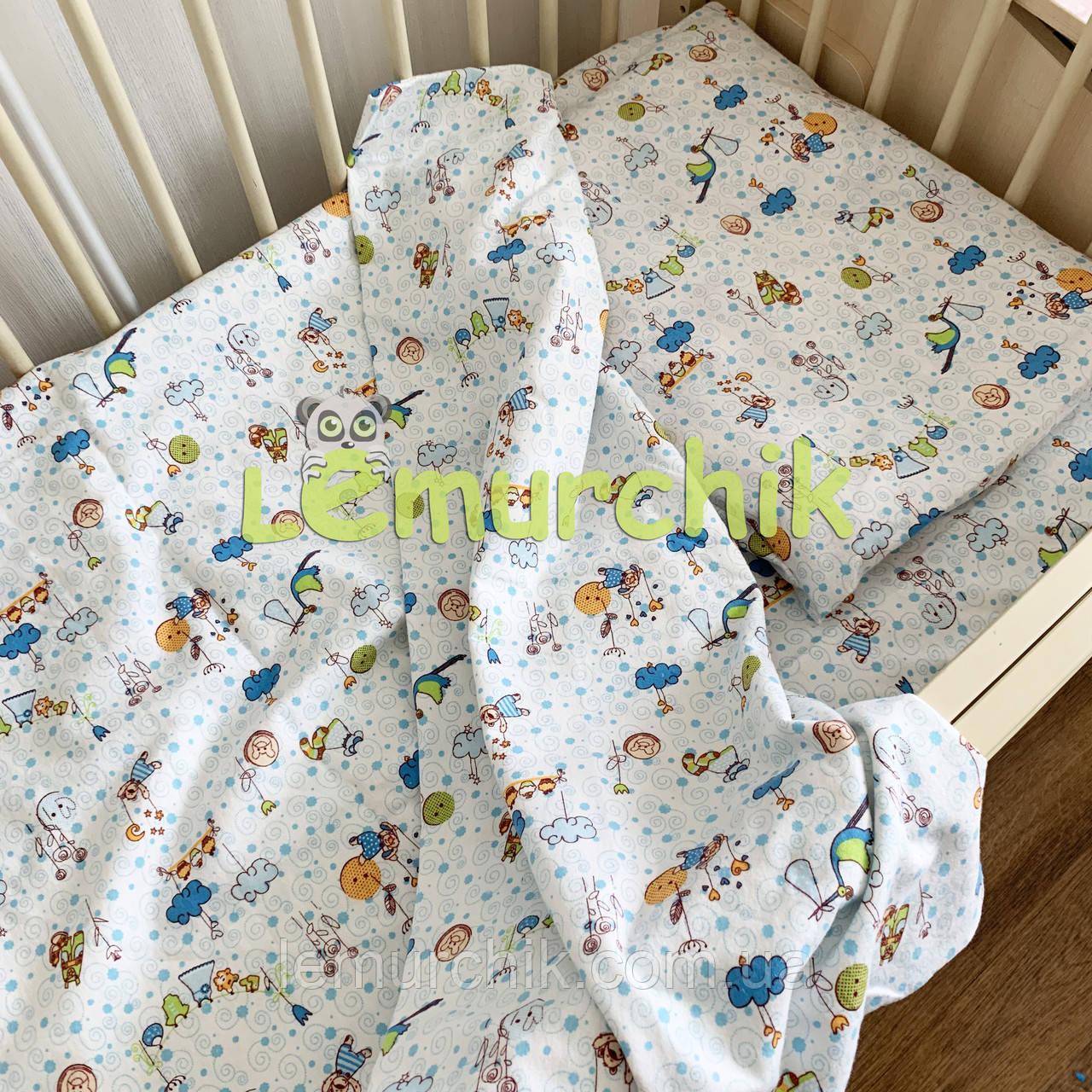 Постельный набор в детскую кроватку байковый (3 предмета), Аисты