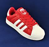 Кроссовки Adidas Superstar Красные Адидас Суперстар Женские Адидас (размеры: 36,37,38,39,40,41) Видео Обзор, фото 3