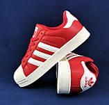 Кроссовки Adidas Superstar Красные Адидас Суперстар Женские Адидас (размеры: 36,37,38,39,40,41) Видео Обзор, фото 7