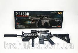Игрушечная снайперская винтовка Cyma с лазерным прицелом, фонарем, съемным прикладом и глушителем (P.1158D)