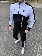 Спортивный костюм мужской Puma BMW Motorsport весенний осенний черный-белый   комплект демисезонный Пума ЛЮКС
