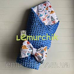 Конверт-одеяло минки на синтепоне синий Ракеты