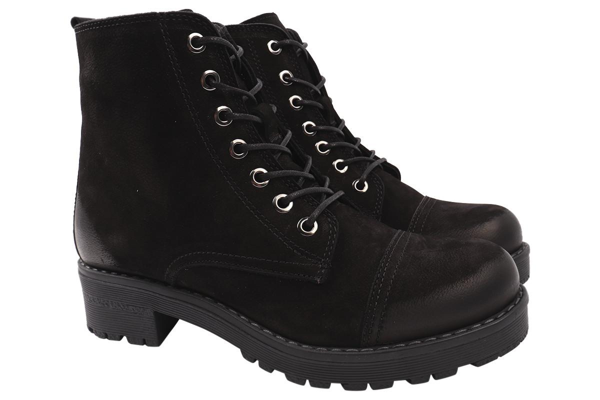 Ботинки женские зимние на платформе из натурального нубука, черные Damlax Турция