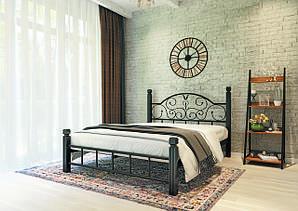 Металлическая кровать Анжелика на деревянных ножках. ТМ  Металл-Дизайн