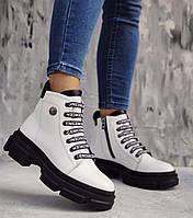 Белые крутые женские ботинки кожаные на платформе, размеры 36-41