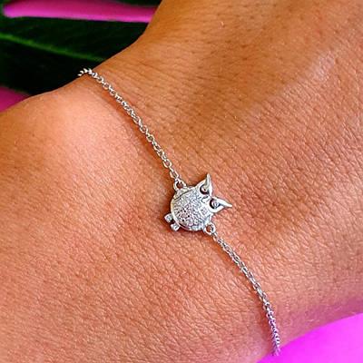 Срібний браслетик Сова - Жіночий срібний браслет Сова