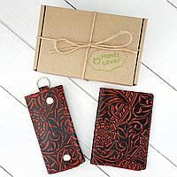 Подарунковий набір №18: Обкладинка на паспорт + ключниця Амелія (бордовий квітка), фото 1