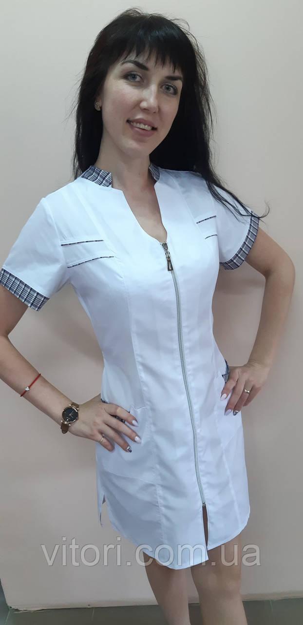 Медичний халат Оксана бавовна на блискавці короткий рукав