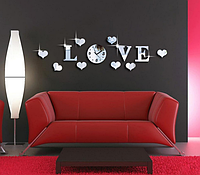 Часы зеркальные настенные 3D LOVE , часы наклейки с сердечками