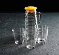 Набор питьевой «Радуга», 5 предметов: графин 1,1л, 4 стакана 220 мл, цвет МИКС