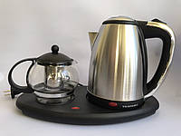 Чайник электрический 1 литра с чайничком для заварки чая TEAFAELL 1850W, фото 1