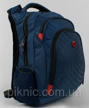 Рюкзак школьный M для мальчиков 5,6,7 класс Портфель для школы c USB Синий, фото 2