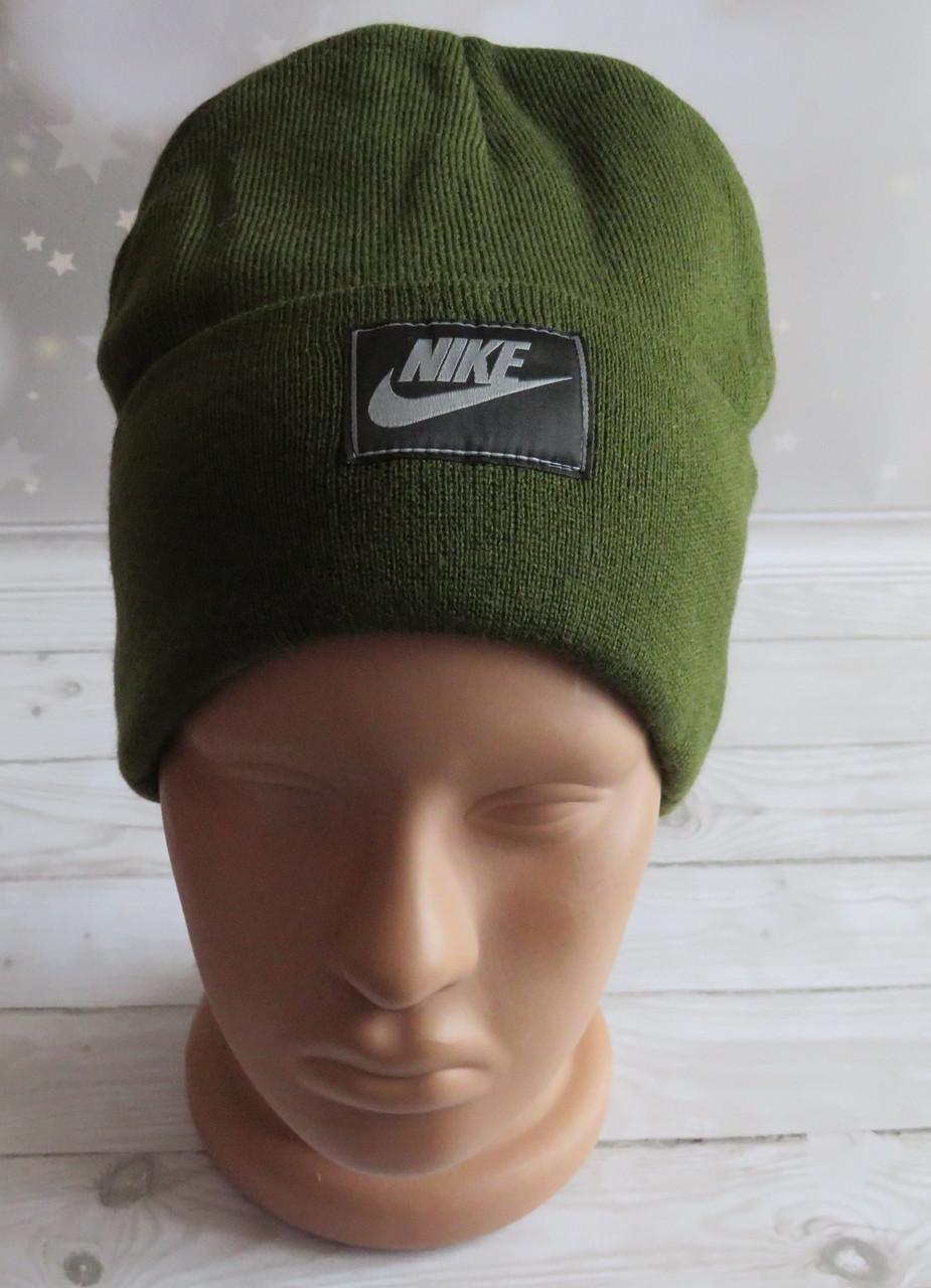 Молодежная двойная шапка с отворотом и нашивкой, хаки