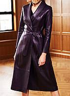 Турецкая высококачественная кожа овчина длинная кожаная куртка женское пальто, плащ