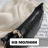 Женская сумочка на ремешке цепочке рептилия багет черная, фото 6