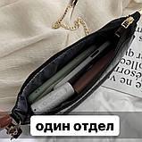 Женская сумочка на ремешке цепочке рептилия багет черная, фото 9