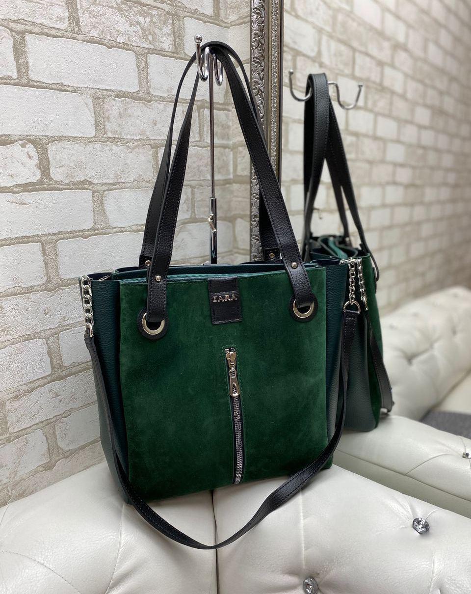 Большая замшевая женская сумка зеленая шопер стильная городская брендовая замша+кожзам