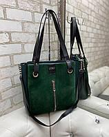 Большая замшевая женская сумка зеленая шопер стильная городская брендовая замша+кожзам, фото 1