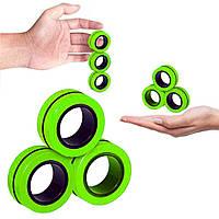 Магнитные кольца Spin Magnetic Rings диаметр 1.9 см спиннер магнитный 3 кольца Зелёный