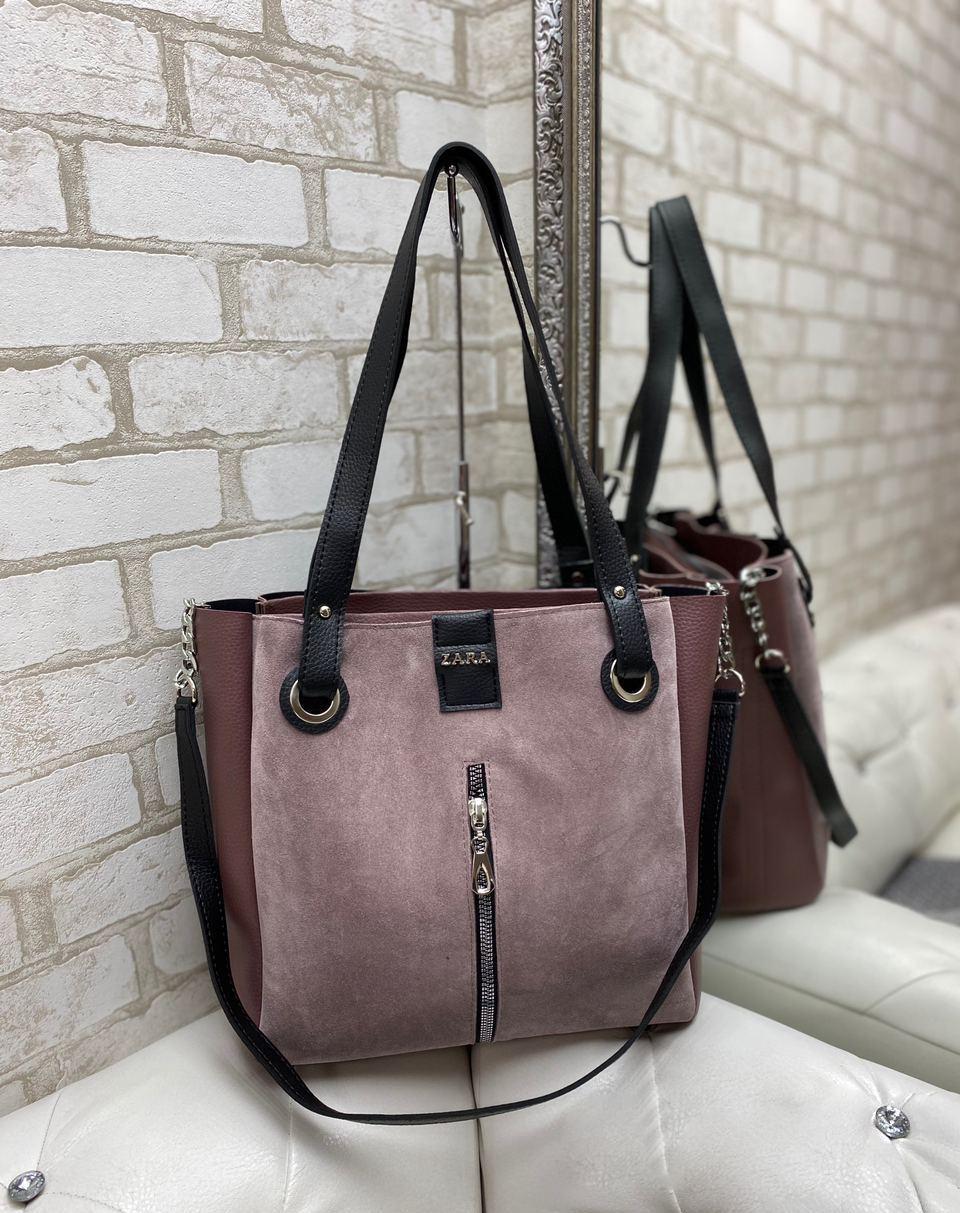 Большая замшевая женская сумка пудровая шопер стильная городская брендовая замша+кожзам