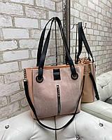 Большая замшевая женская сумка пудровая шопер стильная городская брендовая замша+кожзам, фото 1
