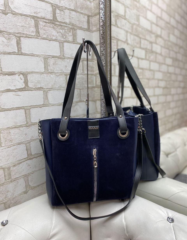 Женская замшевая сумка большая вместительная шопер синяя стильная городская брендовая замша+кожзам