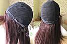 💎Натуральный женский парик баклажановый с чёлкой, натуральный волос 💎, фото 4